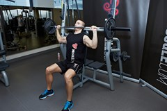 seated barbell military press  Secondary Muscles Target...